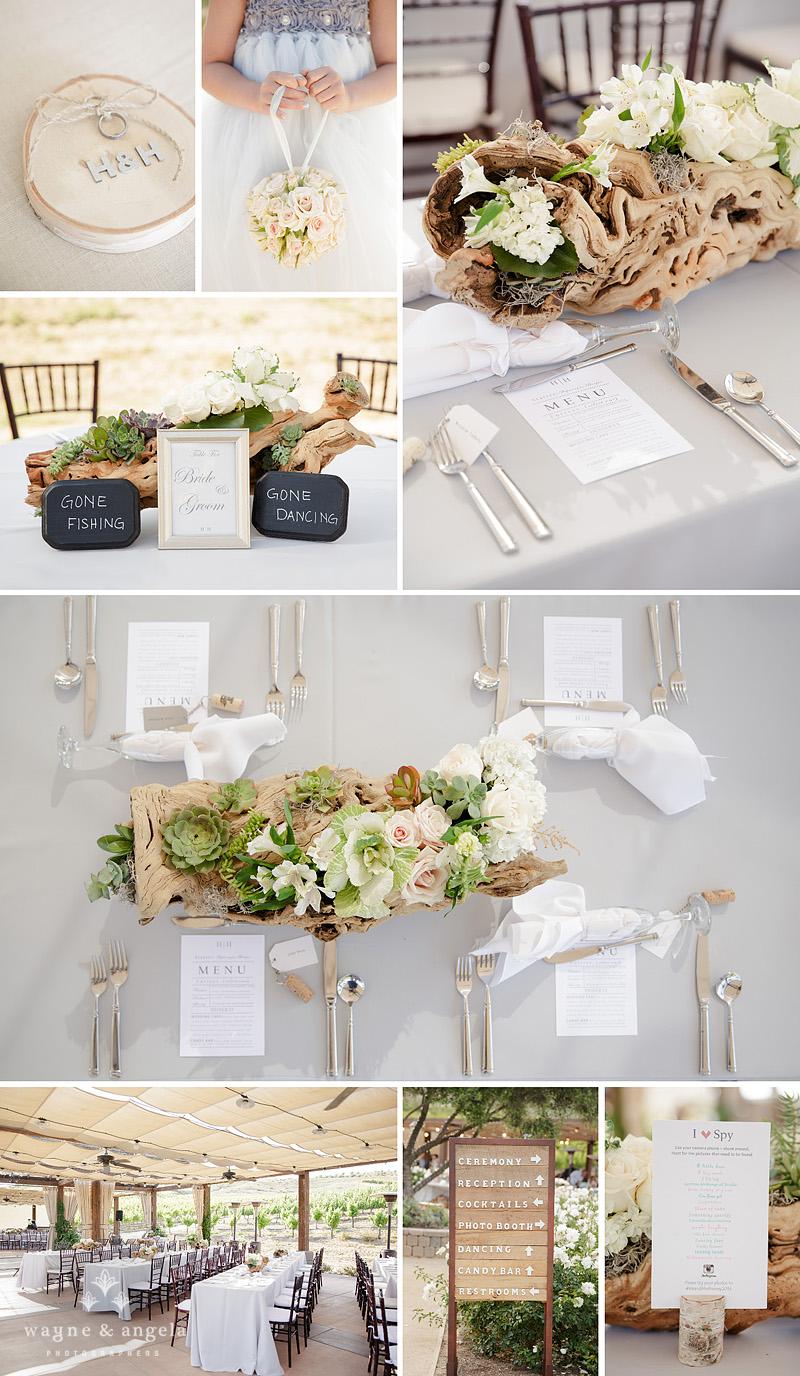 temecula rustic wedding reception details driftwood