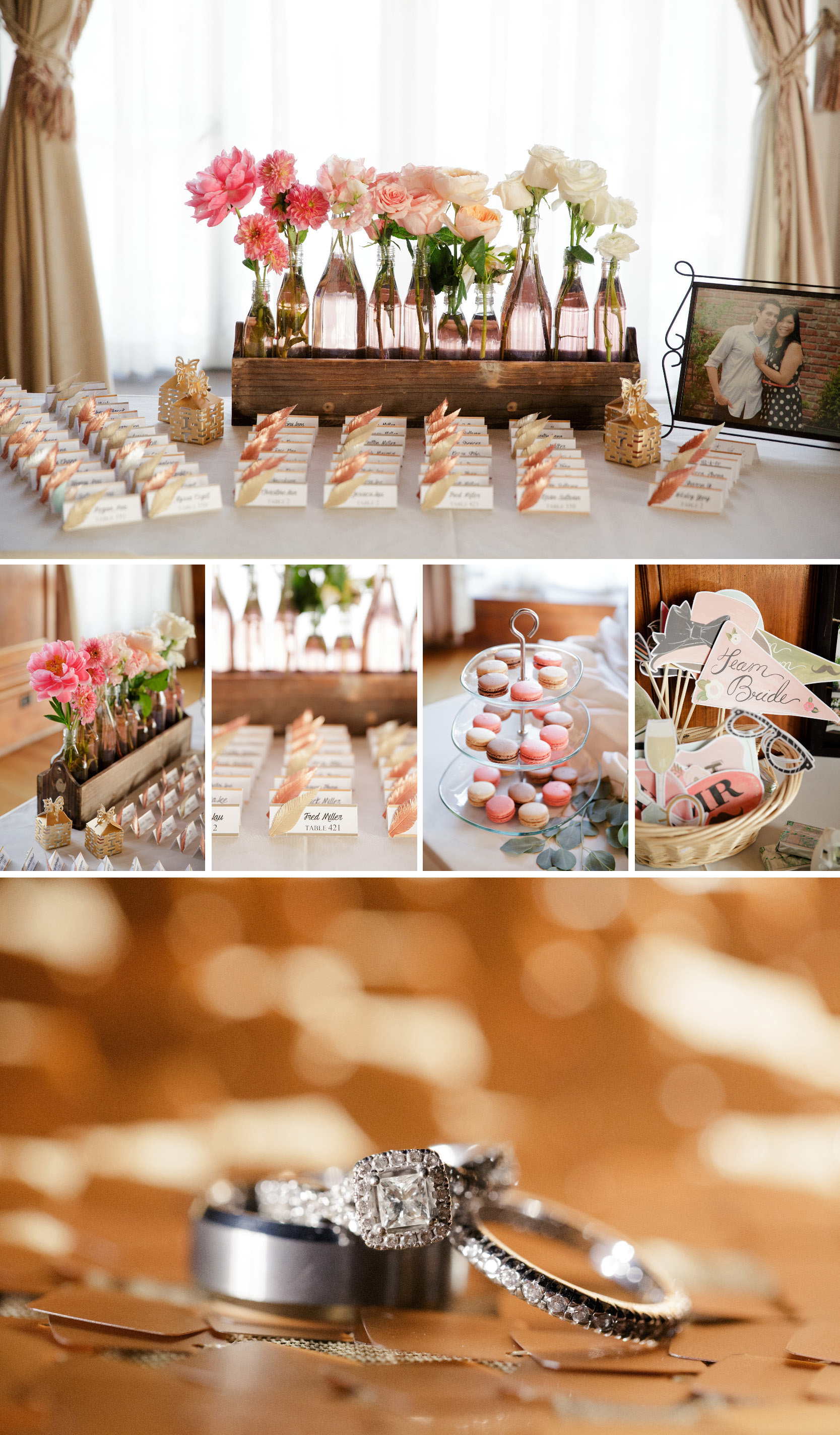 ombre wedding flowers glass bottles feather escort cards gold copper wedding details