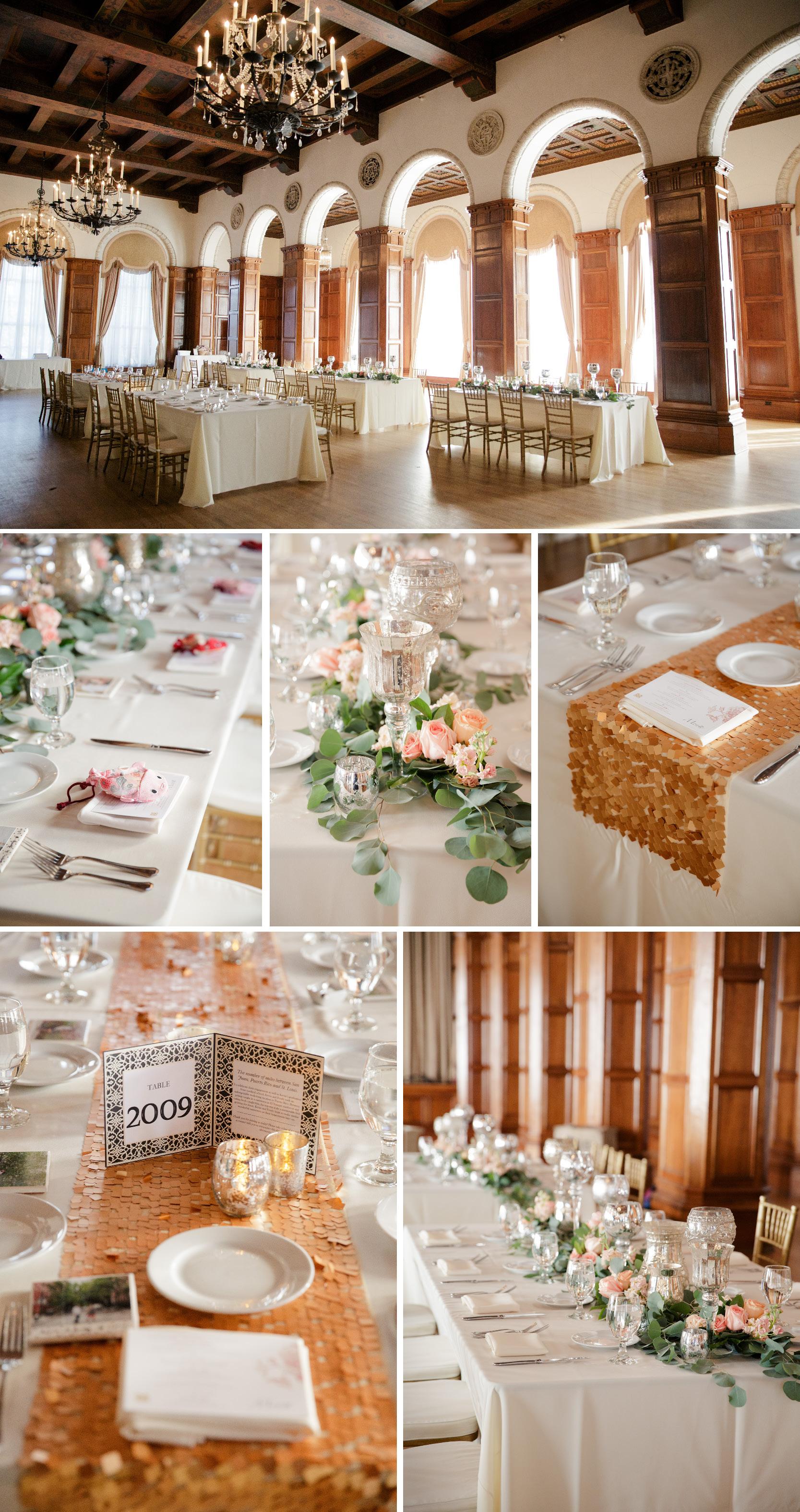 park plaza wedding venue reception details eucalyptus leaves candle center pieces gold table runners art deco wedding