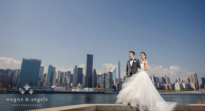 nyc skyline wedding picture